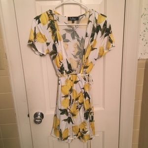 Lulu's Lemon Wrap Dress